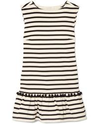 Marc Jacobs Pompom Embellished Striped Cotton Jersey Mini Dress