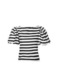 White and Black Horizontal Striped Short Sleeve Blouse