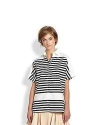 10 Crosby Derek Lam Short Sleeve Striped Shirt Soft White