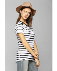 Truly Madly Deeply Button Stripe Crew Neck Tee