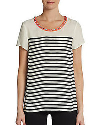 Saks Fifth Avenue RED Embellished Collar Striped Top