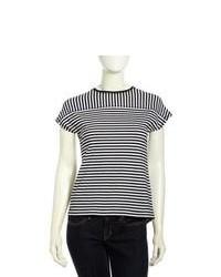 L.A.M.B. Striped Knit Short Sleeve Tee Blackwhite