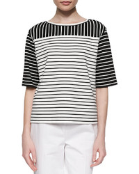 Lafayette 148 New York Mix Striped Half Sleeve Blouse