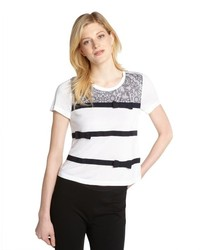 White and black lace and bow detail t shirt medium 160140