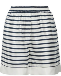 Striped silk twill shorts white medium 1252252