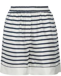 Dolce & Gabbana Striped Silk Twill Shorts White