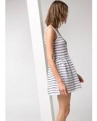 White and Black Horizontal Striped Skater Dress