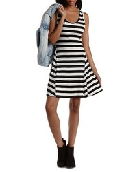 Charlotte Russe Ribbed Striped Skater Dress