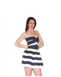 Soho Girl Halter Bandage Dress In Black And White