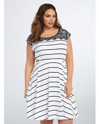 Torrid Striped Lace Trim Skater Dress
