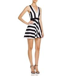Aqua Striped Scuba Skater Dress