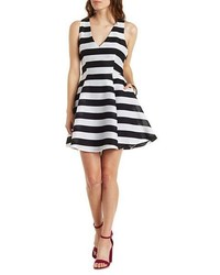 Charlotte Russe Striped V Neck Skater Dress