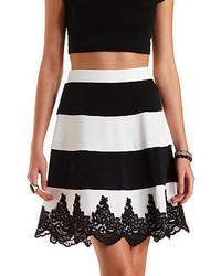 Charlotte Russe Lace Trim Striped Skater Skirt