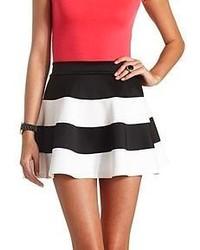 Charlotte Russe Striped High Waisted Skater Skirt