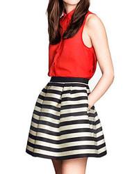 Striped pleated pretty skirt medium 52227