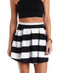 Charlotte Russe Striped Pleated Skater Skirt