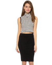 White and Black Horizontal Striped Sleeveless Turtleneck