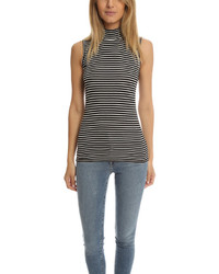 Atm striped sleeveless mock neck tank medium 572891