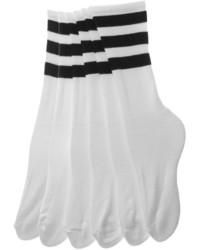 American Apparel Stripe Calf High White Sock
