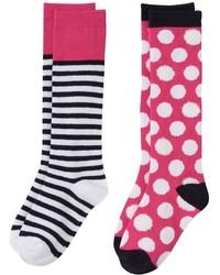 Girls 6 11 So 2 Pk Polka Dot Knee High Socks