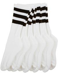 American Apparel Stripe Calf High White Sock
