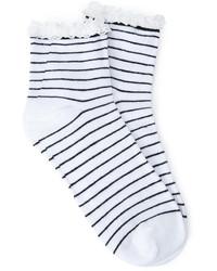 Forever 21 Striped Lace Trim Socks
