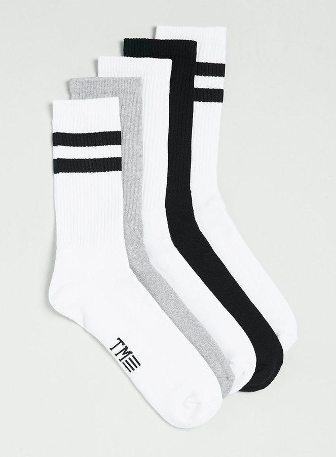 4d3f3c75a ... White and Black Horizontal Striped Socks Topman Striped Tube Socks 5  Pack ...