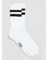 Topman White Tube Socks With Black Stripes