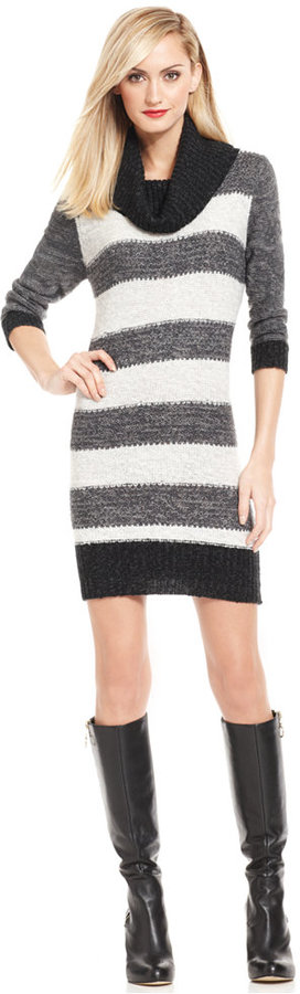 Ny Collection Striped Cowl Neck Sweater Dress | Where to buy & how ...