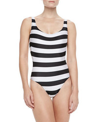 Norma Kamali William Striped One Piece Swimsuit