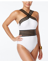 Kenneth Cole Stompin In Stilettos Illusion Striped Swimsuit Swimsuit