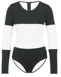 Solid & Striped The Margot Stripe Long Sleeve Swimsuit