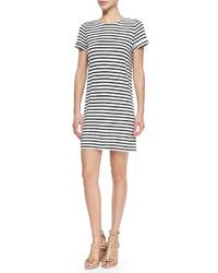Alice + Olivia Striped Slub Cuff Sleeve Dress