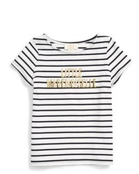 White and Black Horizontal Striped T-shirt