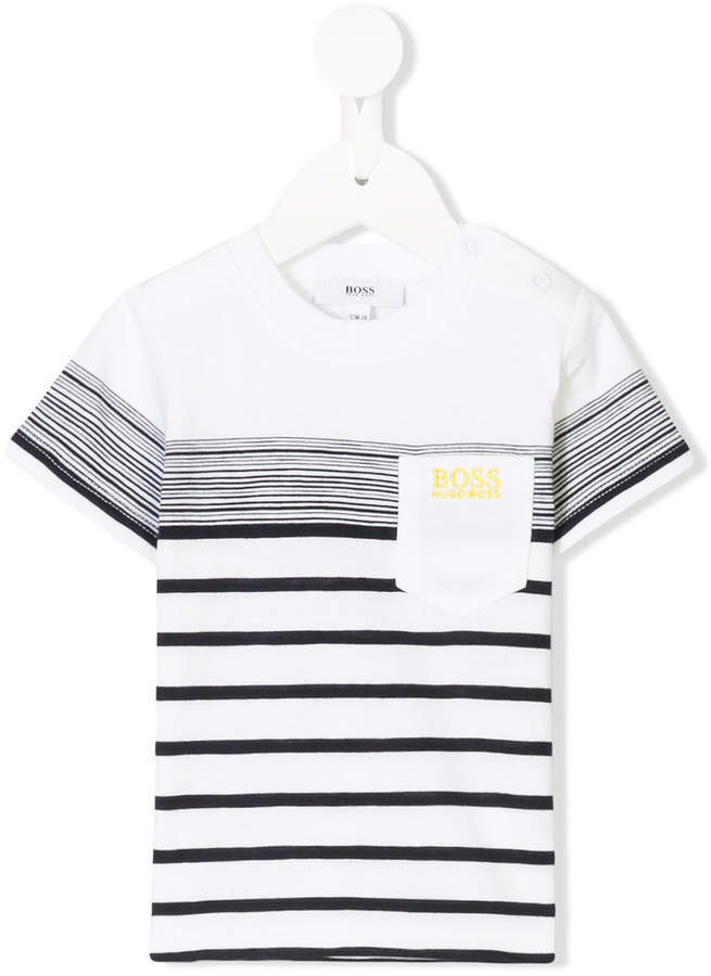 Boss Kids Striped Logo T Shirt