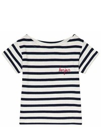 Maison Labiche White And Blue Striped Bonjour Short Sleeve T Shirt