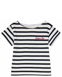 Maison Labiche White And Navy Striped Dream Big Embroidered Short Sleeve T Shirt