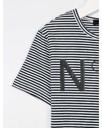 No21 Kids Striped Logo Print T Shirt