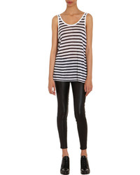 White and Black Horizontal Striped Tank