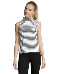 White and black striped rib knit turtleneck tank medium 454713