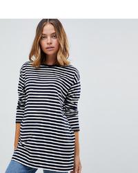 Asos Petite Long Sleeve Oversized T Shirt In Stripe