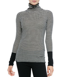 White and Black Horizontal Striped Turtleneck