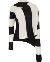 MARQUES ALMEIDA Asymmetric Striped Stretch Knit Turtleneck Sweater