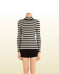 Gucci Striped Silk Cashmere Turtleneck Sweater