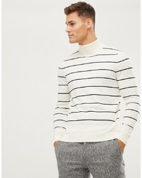 New Look Roll Neck Jumper In Cream Stripe