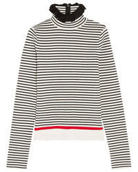 MSGM Ruffle Trimmed Striped Stretch Cotton Blend Top White