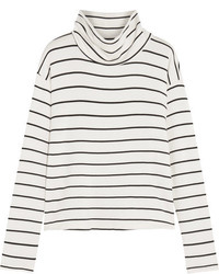 Striped stretch modal terry turtleneck top white medium 1315898