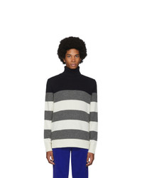 Moncler White And Grey Stripe Turtleneck