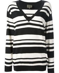 White and Black Horizontal Striped V-neck Sweater