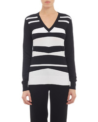 Derek Lam Geometric Stripe V Neck Sweater Black